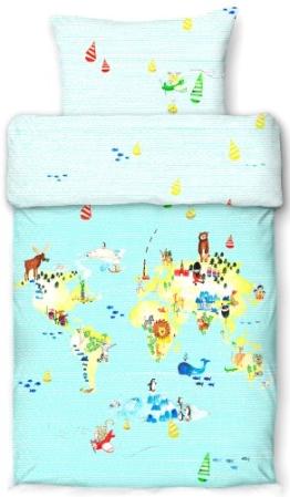 beties Entdecke die Welt Kinderbettwäsche-Set 100x135 cm + 40x60cm (Digitaldruck) 100% Baumwolle Mako-Satin Farbe Himmelblau - 1
