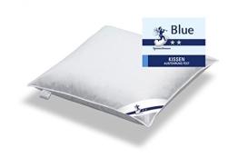 Kopfkissen 80 x 80 / 1000 g - Festes Kissen Spessarttraum Blue mit 100% Federn gefüllt - Bezug weiss 100% Baumwolle - 1